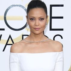 Thandie Newton attends the 74th Annual Golden Globe Awards wearing Harry Winston Diamonds. Discover the best jewellery red carpet celebrity looks from the 74th annual Golden Globe Awards: http://www.thejewelleryeditor.com/jewellery/article/golden-globes-red-carpet-jewellery-edit/ #jewelry