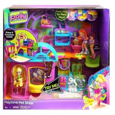 Polly Pocket Playtime Doll Pet Shop by Mattel. $17.51. Pick out a new pet and go upstairs to give it a bath or rock it to sleep. 2 floors with a working elevator for tons of pet shop fun. Polly doll's bendable arms make it easy for her to hold her pets. Includes 1 Polly doll, 8 pets, 1 large swing, pet toys and tons of accessories. The ultimate pet shop, where Polly doll can nurture her pets. Amazon.com With this fun pet shop play set, girls can help ...