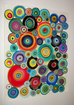 Abstract Circles Original Acrylic Painting and Ink on Canvas Paper 11x14inches Whimsical Fun Color Original Etsy
