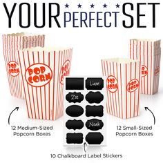 The Chefast popcorn boxes are available in two package options to fit any need or budget. You can purchase a set with 12 medium popcorn boxes, 12 small popcorn boxes, and 10 chalkboard label stickers. If you don't need that much, you can also buy a set with 10 medium popcorn boxes, 10 small boxes, and 10 chalkboard label stickers.   Get more details about the Chefast Popcorn Box Pack by clicking the image above.