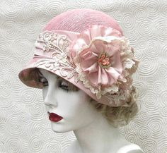 Wide Brim Vintage Style Spring Summer Cloche Hat for Weddings Tea Parties Shabby Chic Pink