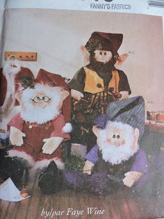 Items similar to Santa and Elves Doll Christmas Home Decorations Holiday Decor Doll Dolls McCall's 3837 PATTERN Home Decor on Etsy Elf Doll, Dolls, Elf Clothes, Santa Outfit, Costume Patterns, Cool Patterns, Christmas Home, Decoration, Cross Stitch Patterns