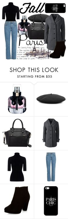 """Paris"" by monochromedivine ❤ liked on Polyvore featuring Yves Saint Laurent, Gucci, Pink Haley, Lands' End, Theory, Current/Elliott, New Look, Casetify and paris"