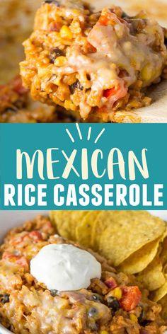 Vegetarian Mexican Rice, Vegetarian Recipes, Cooking Recipes, Cheesy Mexican Rice, Mexican Cheese, Easy Casserole Recipes, Rice Casserole, Mexican Casserole With Rice, Casseroles With Rice