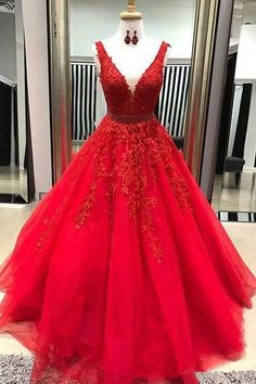 dresses red lace Lace Wedding Dresses, Charming Tulle V-neck Neckline Floor-length A-line Evening Dresses With Lace Appliques & Beadings AdasBridal Red Lace Prom Dress, Pretty Prom Dresses, Red Wedding Dresses, Sweet 16 Dresses, Classic Wedding Dress, Lace Evening Dresses, Pageant Dresses, Ball Dresses, Cute Dresses