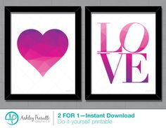 2 FOR 1 8x10 Print—Pink Purple Love and Heart Printable—Geometric Heart—Low Poly Art—Girly Typographic Typography Quote Word Home Decor by PresuttiGraphics on Etsy
