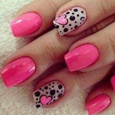 heart nail art - 70 Heart Nail Designs I'd change the hot pink to red but love this design Nail Designs 2017, Heart Nail Designs, Pink Nail Designs, Simple Nail Art Designs, Nails Design, Pink Nail Art, Nail Art Diy, Diy Nails, Cute Nails