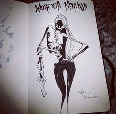 Drawings Ideas Anorexia Nervosa - Anorexia nervosa is an eating disorder characterized by weight loss (or lack of appropriate weight gain in growing children); Creepy Drawings, Dark Drawings, Creepy Art, Arte Horror, Horror Art, Art Triste, Art Sinistre, Arte Grunge, Mental Health Art
