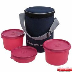 Signoraware Executive Lunch Box With Insulated Bag, Pink