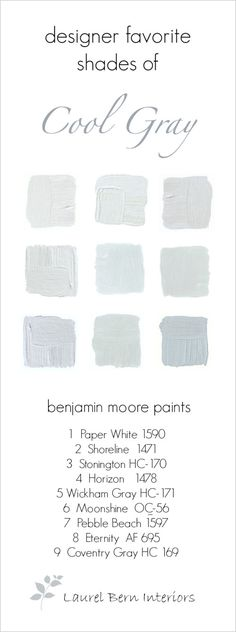 9 fabulous Benjamin Moore cool gray paint colors... All winners