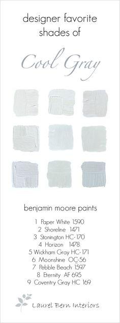 9 fabulous Benjamin Moore cool gray paint colors... All winners