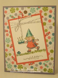 Birthday Gnome with Sweet Shop DSP by Shelley Zarling