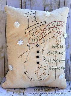 Handmade Primitive Winter Snowman with Twig Tree Pillow Embroidery Country Hand Stitched Rustic Tea Stained Muslin Stitchery Christmas Sewing, Christmas Embroidery, Primitive Christmas, Christmas Snowman, Christmas Ornaments, Christmas Trees, Primitive Embroidery, Primitive Stitchery, Primitive Crafts