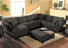 Cindy Crawford Home  Metropolis Slate Left 3 Pc Sectional