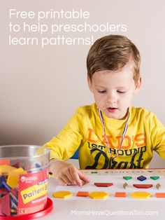 Patterns Activities for Preschoolers - Make pattern using pattern blocks. Free printable in color and black and white!