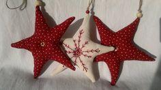 Ensemble de trois Noël rouge et blanc tissu étoiles ornement /Hanging décoration
