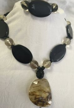 Onix Necklace with Faceted Opal beads and by MonteforteDesigns