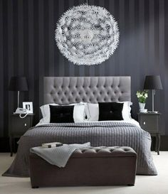 bedroom ideas    love the headboard  the way the light looks like a great big moon hanging over the bed