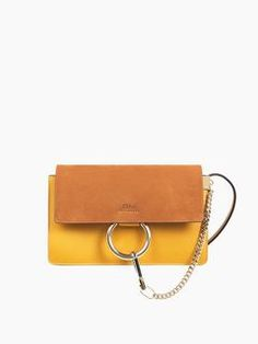 Exclusive small Faye shoulder bag in smooth calfskin & suede calfskin Sunflower Yellow & Caramel