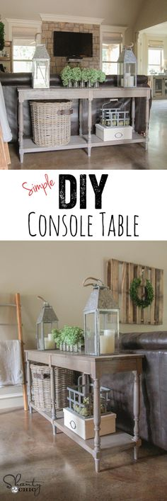 LOVE this DIY Console Table - FREE plans and easy tutorial by www.shanty-2-chic.com !!