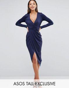 4d01165298 ASOS TALL Long Sleeve Wrap Front Midi Dress at asos.com