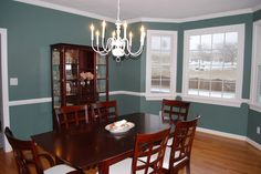 blue fir paint color is being used for the living room