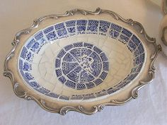 Mosaic Blue Willow Platter with Silver