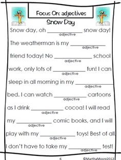 Get ready for fun and laughter as your students practice their parts of speech! These FUN Winter themed Wacky Word stories will have everyone in the room chuckling and learning! What could be better?    You can use these progressive fill in the blank stories with your whole class, small groups, or for independent work throughout the whole Winter season! They progressive from focusing on one part of speech per story to up to four per story. $