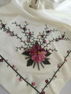 This Pin was discovered by HUZ Hand Embroidery Stitches, Ribbon Embroidery, Embroidery Designs, Making Fabric Flowers, Different Stitches, Knit Shoes, Brazilian Embroidery, Ribbon Work, Lace Making