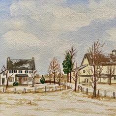 Custom painting from photographic references. Family farm House Paintings, First Home Gifts, House Drawing, Hand Sketch, Watercolor Artwork, Cool Lighting, Custom Paint, That Way, Custom Homes