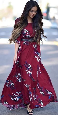 Modest lace and floral printed ankle length dress with elbow length sleeves | Mode-sty