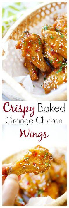 Baked Orange Chicken Wings - crispy, sticky baked wings (no frying) in an amazeballs orange sauce, so yummy   rasamalaysia.com