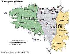 Carte de Bretagne : la Haute et la Basse Bretagne (recul de la langue bretonne)