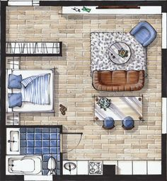 Sketch plan interior design drawing hand rendering marker sketch layout Online sketching courses for interior designers — Rendering Interior, Interior Design Renderings, Drawing Interior, Interior Sketch, Interior Design Tips, Interior Decorating, Simple Interior, Decorating Tips, Interior Architecture Drawing