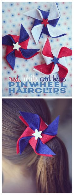 The best DIY projects & DIY ideas and tutorials: sewing, paper craft, DIY. Best Diy Crafts Ideas For Your Home of July Pinwheel Hairclips -Read Patriotic Crafts, July Crafts, Summer Crafts, Holiday Crafts, Diy And Crafts, Crafts For Kids, Diy Christmas, 4th Of July Party, Fourth Of July