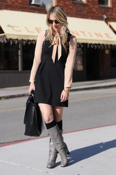 love this whole outfit, especially the leather detail on the dress