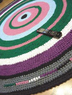 Large Area Rug, 8 ft Crochet Rug, Rag Rug, Handmade Cotton Rug, Vintage style…