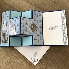 Karten von Concetta: Sailing Home Bundle - Kaarten Maken Tri Fold Cards, Fancy Fold Cards, Folded Cards, Joy Fold Card, Masculine Birthday Cards, Birthday Cards For Men, Masculine Cards, Tarjetas Stampin Up, Nautical Cards