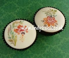 Cupcakes decorated with my elegant flower stencils - can't stop using these!!!