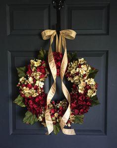 Wreaths - Blended Hydrangea Wreath - Cranberry Red Hydrangea - Front Door Wreaths - Wreaths - Summer Wreath - Housewarming Gift