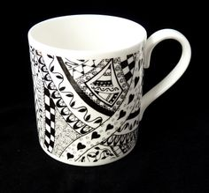 Zentangle china mug  black and white bone china by KilnFiredArt, £8.00