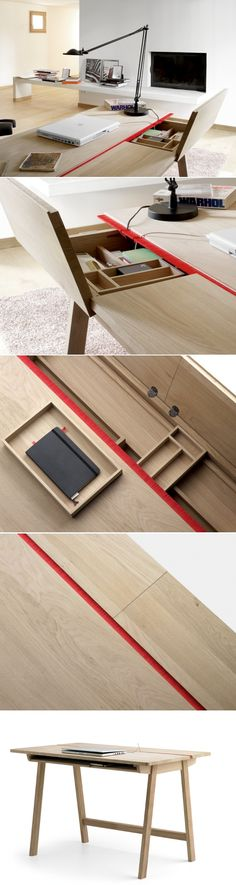 Landa Desk - great idea but there is a reason we pull storage from a drawer. If the desktop is occupied you couldn't flip open your storage. Wood Furniture, Furniture Design, Furniture Inspiration, Style Inspiration, Wood Design, Woodworking Projects, Interior Design, Decoration, Lightbox