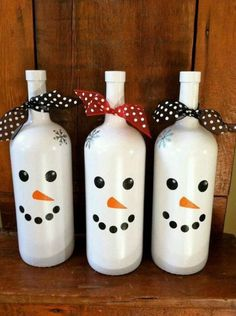 Snow man wine bottles
