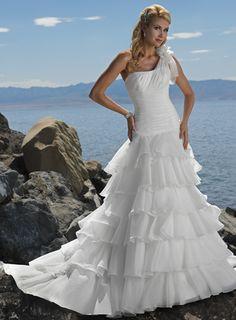 Fashionable Ball Gown Dropped waist Organza wedding dress