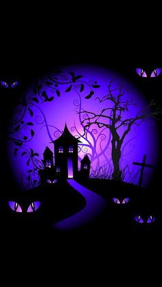 Free halloween wallpapers for my phone iphone background black and purple halloween haunted house wallpaper Deco Porte Halloween, Diy Halloween, Purple Halloween, Halloween Horror Nights, Halloween Painting, Halloween Haunted Houses, Halloween Images, Halloween Desserts, Halloween Cupcakes