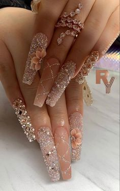 Bling Acrylic Nails, Glam Nails, Best Acrylic Nails, Dope Nails, Bling Nails, Bling Nail Art, Acrylic Gel, Pastel Nails, Coffin Nails