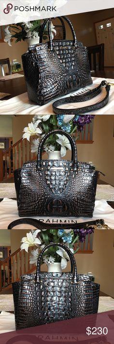 Brahmin Dusk Metallic Claire Barrel Satchel Shoulder Crossbody Bag