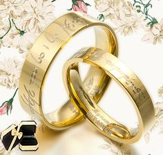 UK Anyword 18K Gold His and Her Lord of the rings Wedding Rings Titanium SET.  I would never do this, but I would think about it! hahha