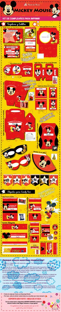 Kit de cumpleaños para imprimir Mickey Mouse.  #Ideas #DIY #MundoMab