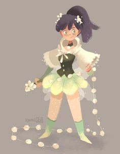 """Studio Salimbal's art topic """"Philippine themed magical girl"""" her theme is a combination of Sampaguita (national flower) and Pearls. withher whip resembling the look of both pearl necklaces and sampaguita garlands"""